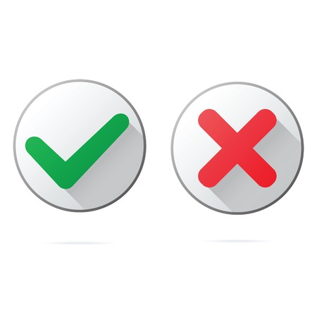 Set of ok and cancel plastic buttons  icons, glossy and modern design for websites  or applications for smartphones Vector
