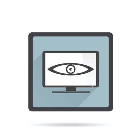 Big brother is watching you.  TV icon on white background. Vector character design. Illustration