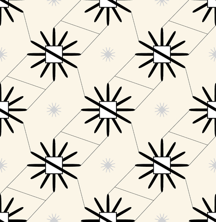 Abstract floral pattern. Seamless vector background. Black and white ornament. Graphic modern pattern.