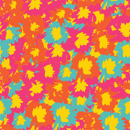 vector seamless pattern with tropical flowers. Detailed colorful graphic botanical elements Vettoriali