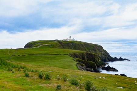 The lighthosue at the southernmost point on Shetland island called Sumburgh head