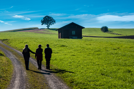 dirt road recreation: Three people walking on a dirt road next to a green meadow with a hut with blue sky and some clouds.