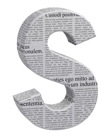 Letter S in newspaper pattern Stockfoto