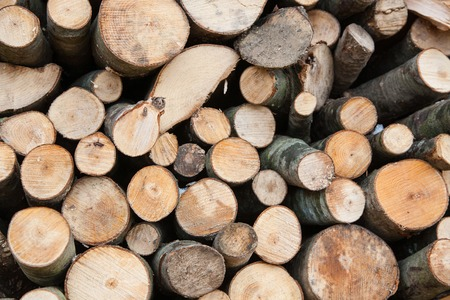 Pile of firewood, logs close-up. Natural wooden background. Reserve for winter and alternative energy source fuel