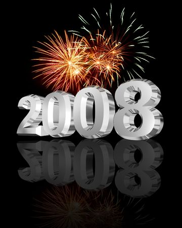 Chrome 2008 lettering with fireworks in nightsky over a reflection Stock Photo - 3710987