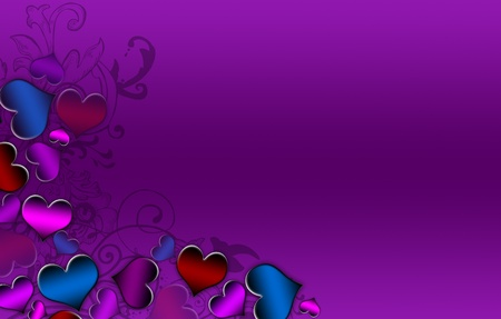 Colored hearts making the left border on a purple background photo