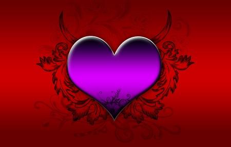 Big purple heart on a dark red background photo