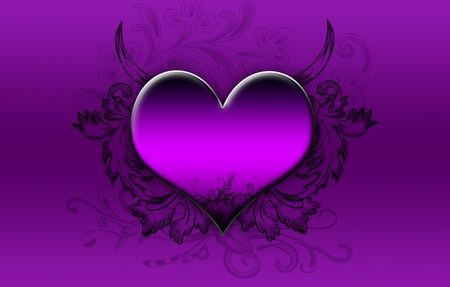 Big purple heart on a purple background photo