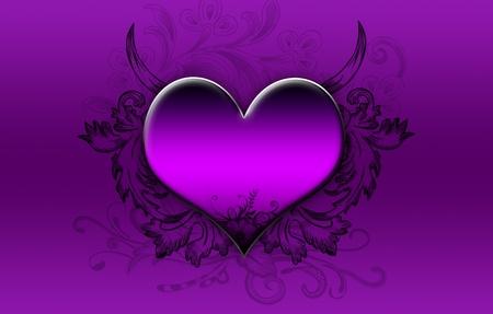purple love: Big purple heart on a purple background