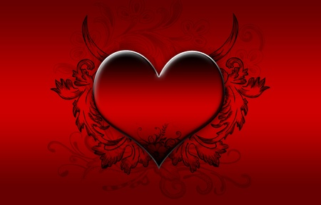 Big RED heart on a dark red background photo
