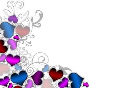 color�: Coeurs de couleur rendant la fronti�re gauche sur un fond blanc