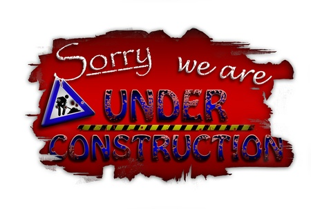 Sorry, we are under construction red Stock Photo - 12197069