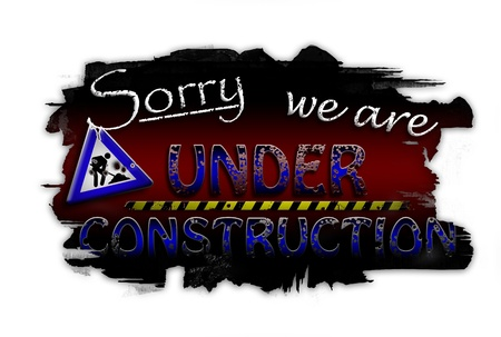 Sorry we are under construction dark red photo