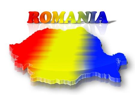 romania flag: Three dimensional map of Romania in Romanian flag colors Stock Photo