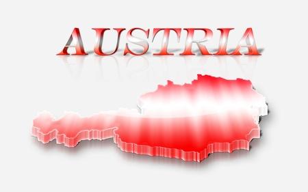 austrian flag: Three dimensional map of Austria   in Austrian flag colors