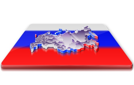 A simple 3D map of Russia on a 3d flag photo