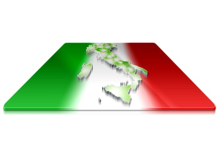 A simple 3D map of  Italy on a 3d flag  photo