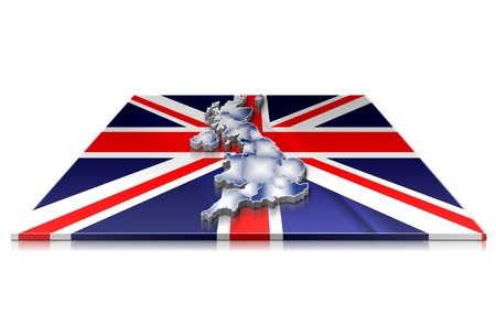 A simple 3D map of  UK on a 3d flag