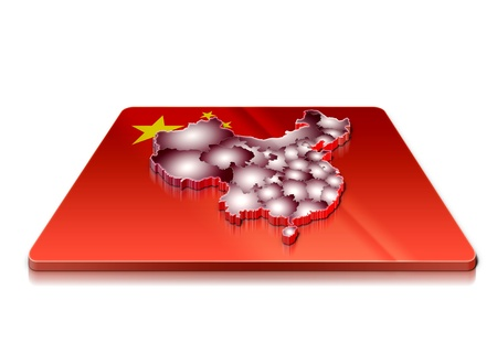 A simple 3D map of  China on a 3d flag  photo