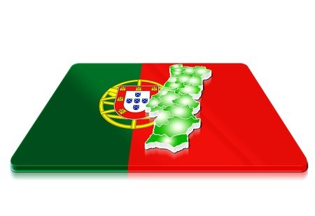 A simple 3D map of  Portugal on a 3d flag  photo