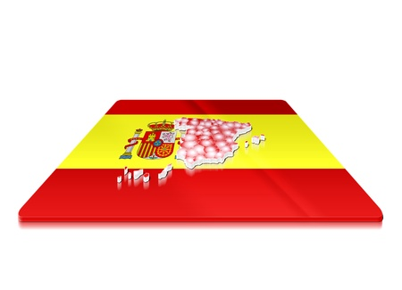 A simple 3D map of   Spain  on a 3d flag  photo
