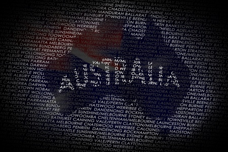 darwin: A map of the Australia shaped into a text with the main cities from Australia  Country isolated on a white text and a black background