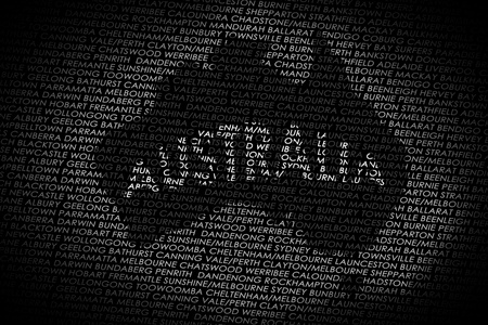A map of the Australia shaped into a text with the main cities from Australia  Country isolated on a white text and a black background  photo