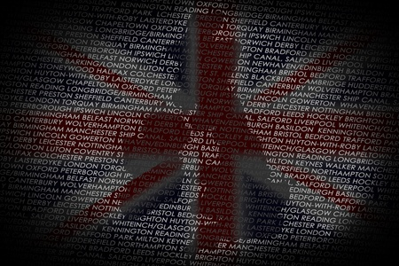 orientate: A map of the UK shaped into a text with the main cities from UK  Country isolated on a white text and a black background