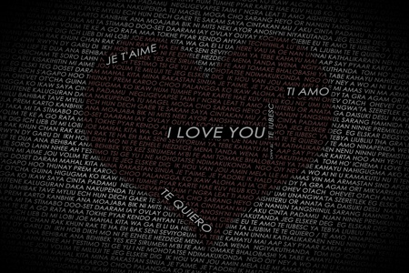 Heart shaped into many different language declaration of love Stock Photo - 12764461