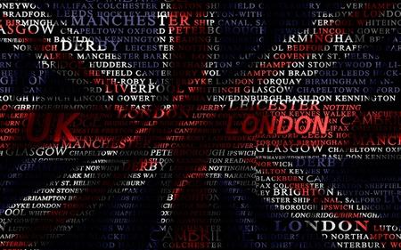 bandera de gran bretaña: Palabra nube formada por las ciudades de Reino Unido Foto de archivo