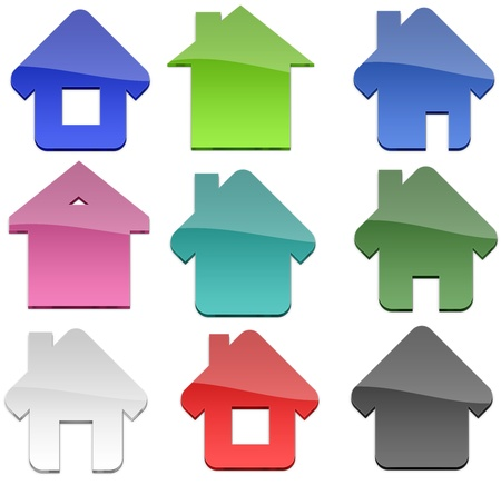 simplistic icon: Multiple Home shapes Stock Photo