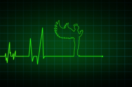 cardiac care: Illustration of a heartbeat ending with  angel  Stock Photo