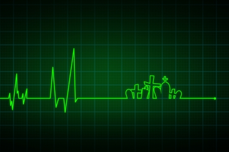 Illustration of a heartbeat ending with  crosses  illustration