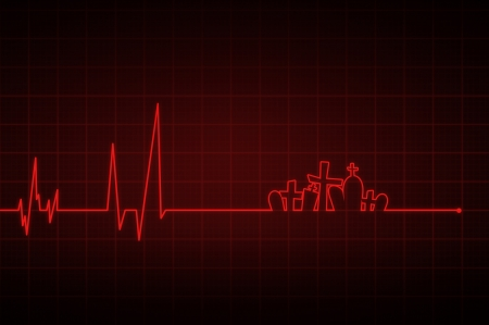 heart monitor: Illustration of a heartbeat ending with  crosses