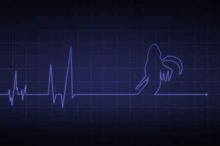Illustration of a heartbeat ending with  death  illustration