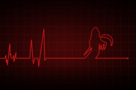 electrocardiogram: Illustration of a heartbeat ending with  death