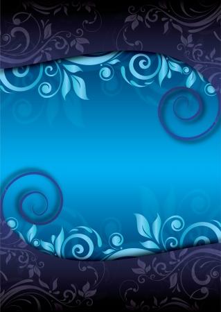 footer: Decorative blue floral background