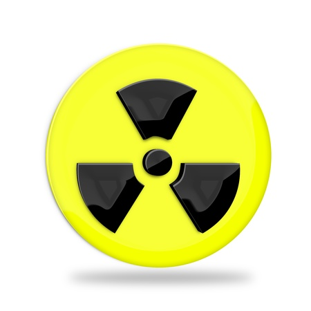 atomic center: Radiation sign over white background  Stock Photo