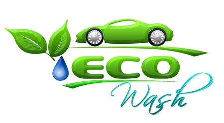 eco car: Eco car wash Symbol Stock Photo