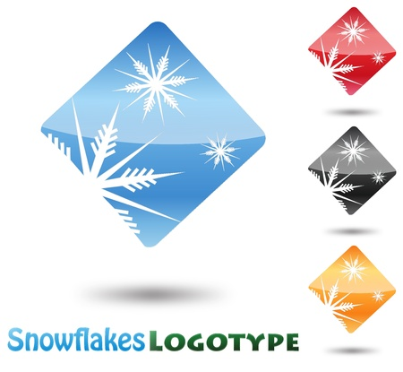 winter time: Abstract Logo Snow Flake on white background Illustration