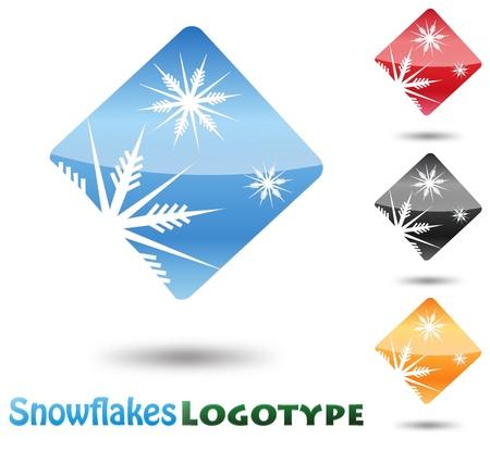 logo de comida: Logo Resumen Snow Flake sobre fondo blanco Vectores