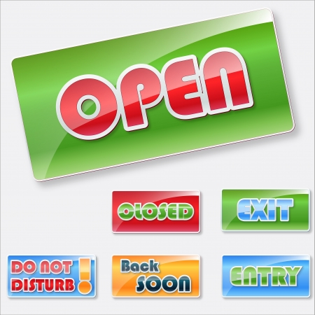 not open: Store signs collection.Open, closed and other signs.  Illustration