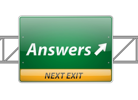 Answers Freeway Exit Sign  Stock Vector - 15140831