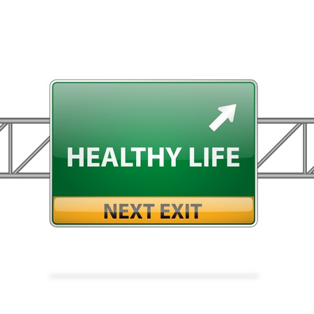 way of living: Healthy life concept with road sign showing a change  Illustration