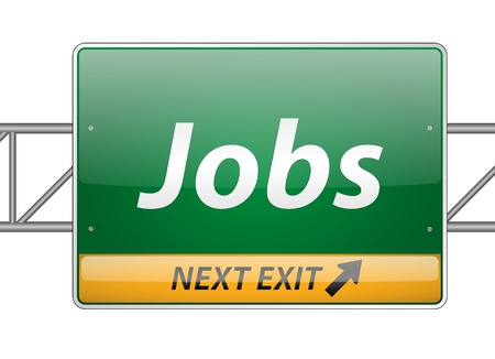 employment issues: Jobs Freeway Exit Sign