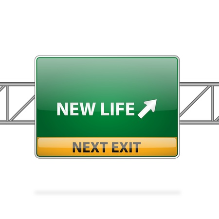 career choices: new life concept with road sign showing a change  Illustration
