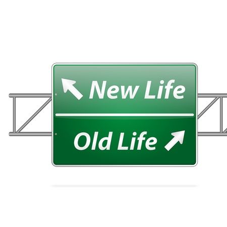 new beginning: New life old life road sign on isolated background