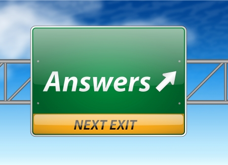 answers highway: Answers Freeway Exit Sign on blue sky background  Illustration