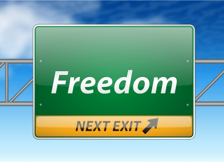 Freedom Freeway Exit Sign on blue sky background  Vector