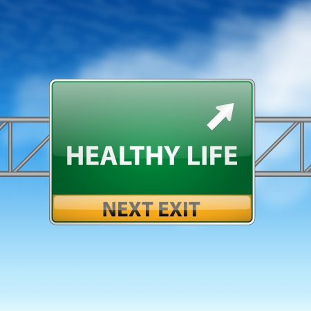 Healthy life concept with road sign on blue sky  Illustration